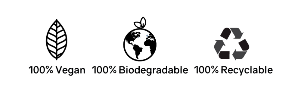 vegan, biodegradable, recyclable